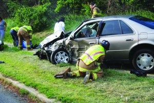 An accident on Rousby Hall Road in Lusby