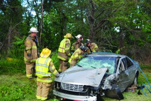 Firefighters on the scene of an accident on Brooks Drive off of Route 4.
